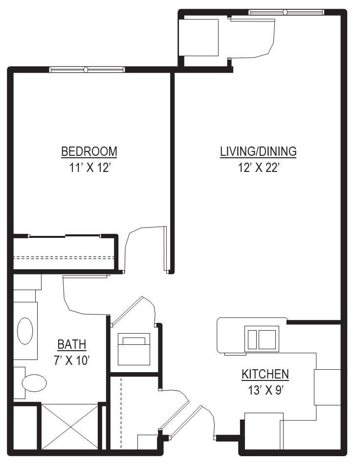 Bedford 1 Bedroom, 1 Bathroom Apartment